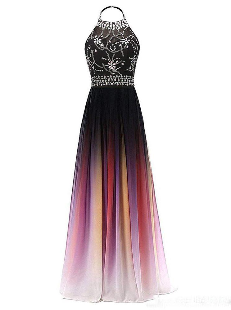 Halter Chiffon Backless Ombre Prom Dresses, Long Gradient Evening Dress With Beading MP35