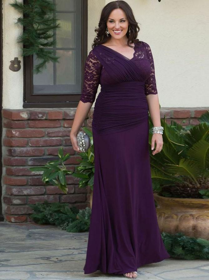 v neck ruched half sleeves chiffon mother pf the bride plus size prom dresses with lace wm103