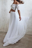 Boho Beach Chiffon Wedding Dresses, Two Piece Off Shoulder Bridal Gown PW65