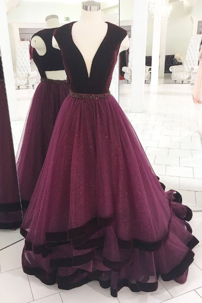 Elegant Grape Long Prom Dress V neck Tulle Formal Evening Gown MP700