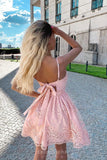 A-line Appliques Short/Mini Party Dresses Pink Homecoming Dresses GM225