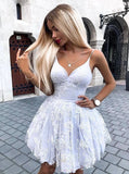 Cute Spaghetti Straps V-neck Lace Appliques Short Prom Party Dress GM228