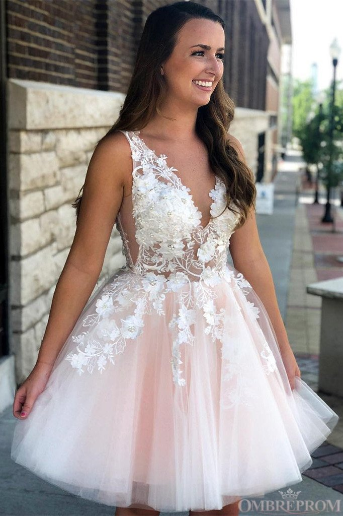 Princess V-neck Pink Short Prom Dresses, Tulle With Applique Homecoming Dress GM108