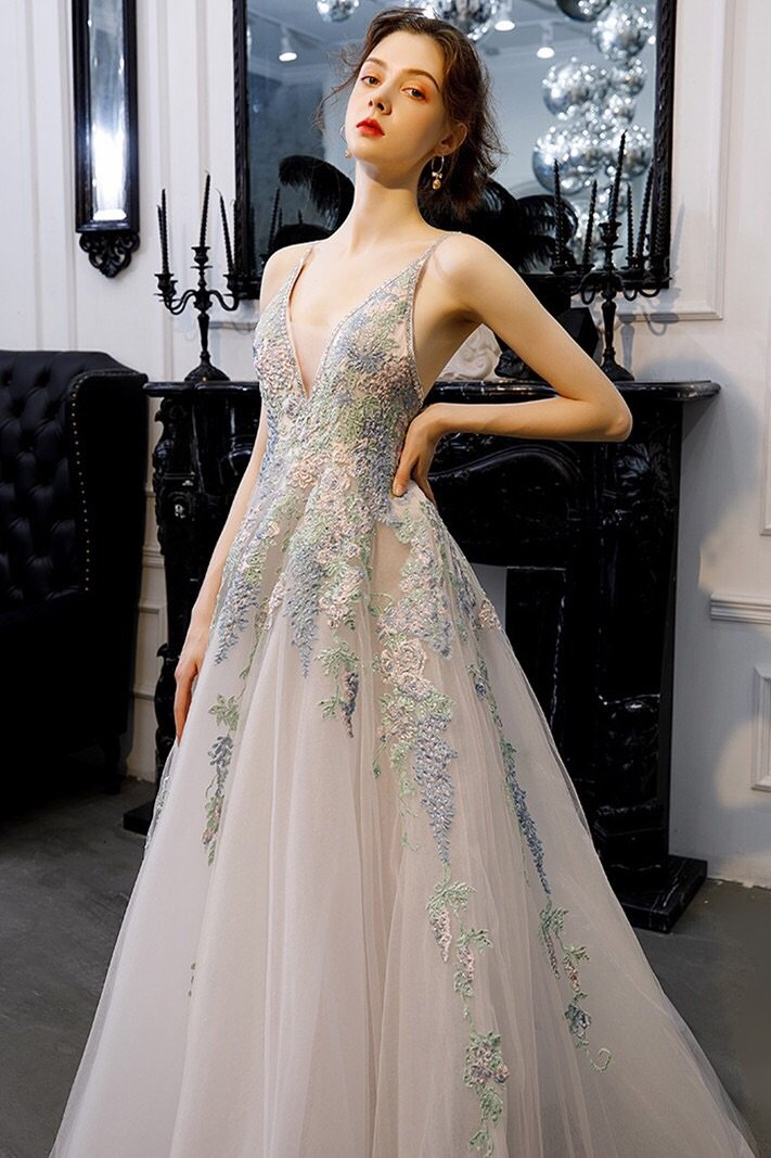 A-line tulle long prom dresses backless evening gown with appliques mg152