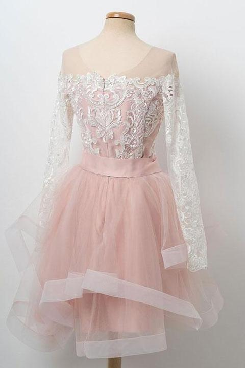pink bowknot sweet 16 dress round neck lace long sleeves tulle short prom dress mp944