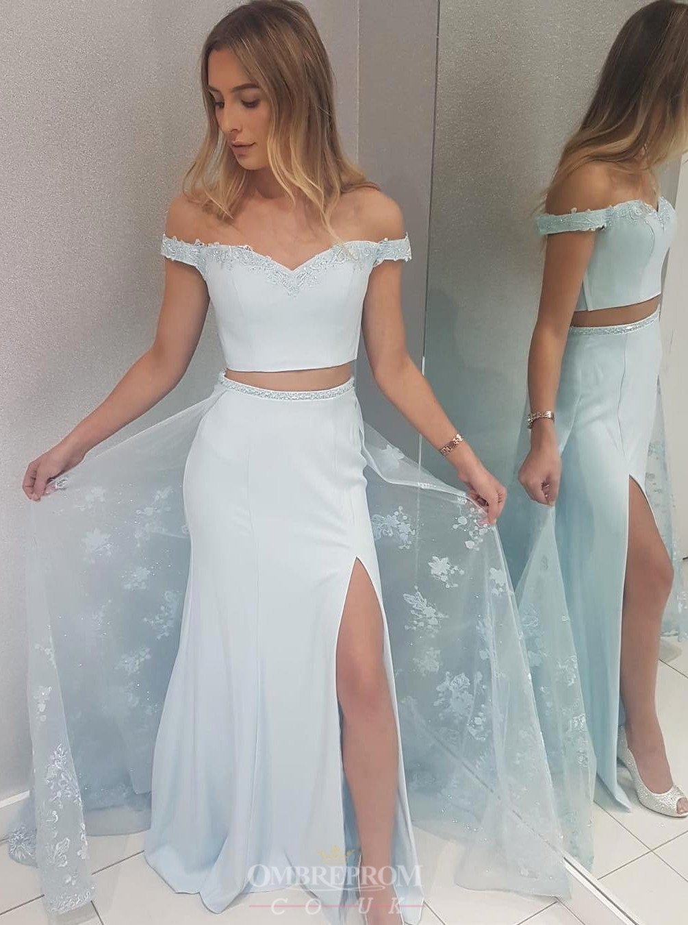 Off-Shoulder Two Piece Mermaid Prom Dresses With Over Skirt MP234