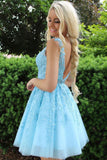 A-line V-neck Ice Blue Homecoming Dress, Lace Appliques Short Prom Dresses GM190