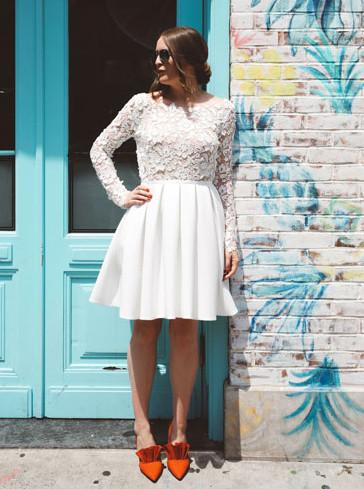 Charming Lace Long Sleeves Short Prom Dresses, Short Wedding Party Dress GM210