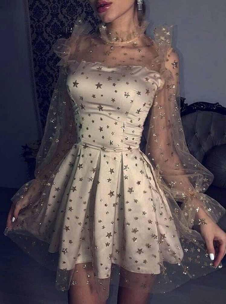 Starry Night Party Dresses Tulle Star Long Sleeves Homecoming Dress GM206