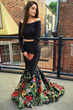 Off-the-Shoulder Long Sleeves Two Piece Mermaid Black Prom Dresses MP256