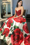 A-Line Sweetheart Rose Printed Prom Dresses with Beading MP255