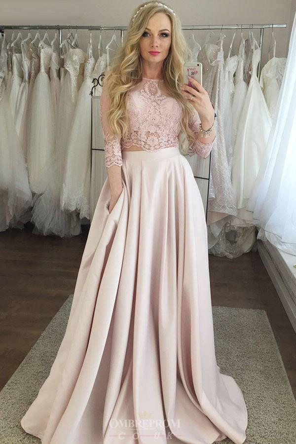 Two Piece Jewel 3/4 Sleeves Pink Prom Dresses with Pockets MP248