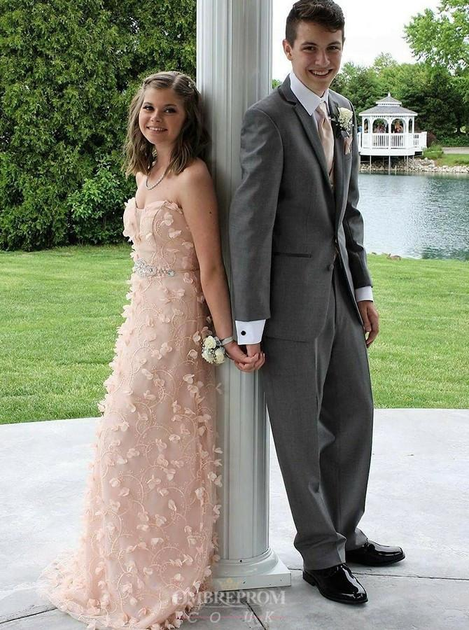 Sweetheart Peach Prom Dresses For Teens with Appliques Beading MP243