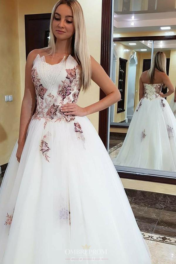Appliques Beading White Prom Dresses A-Line Sweetheart Formal Gown MP242