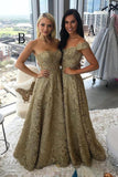 A-Line Off-the-Shoulder Lace Prom Dresses Gold Party Dress MP241