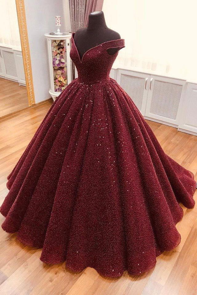 Sparkly Burgundy Quinceanera Dress V neck Ball Gown Prom Dress MP706