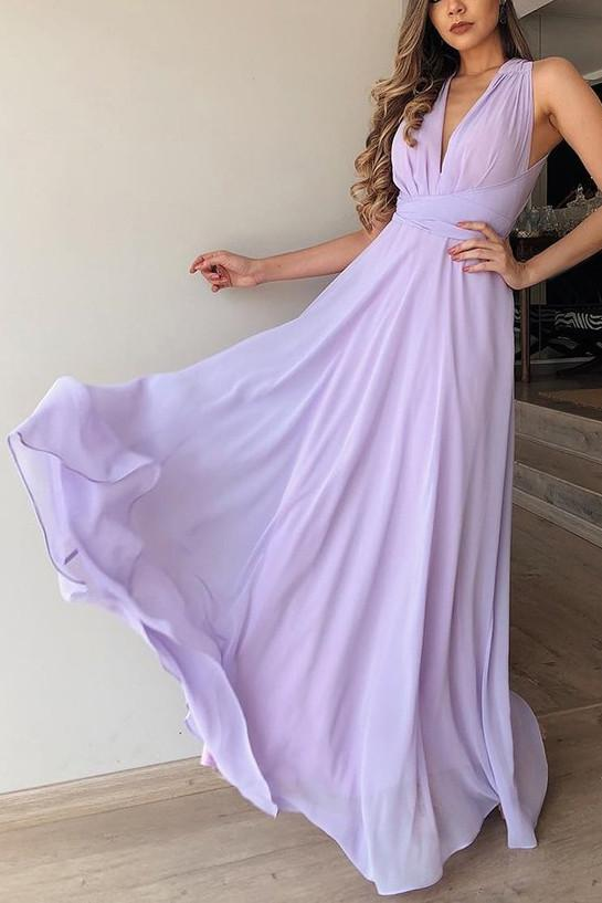Flowy A-Line V-Neck Lilac Chiffon Long Bridesmaid Dress PB130