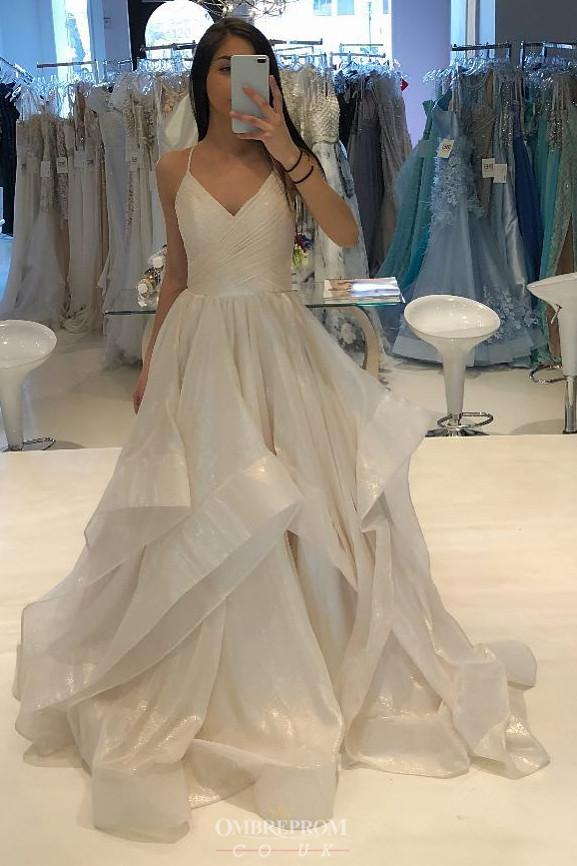 A-Line V-neck Long Prom Dress, Sparkle Ruffles Wedding Dress MP321