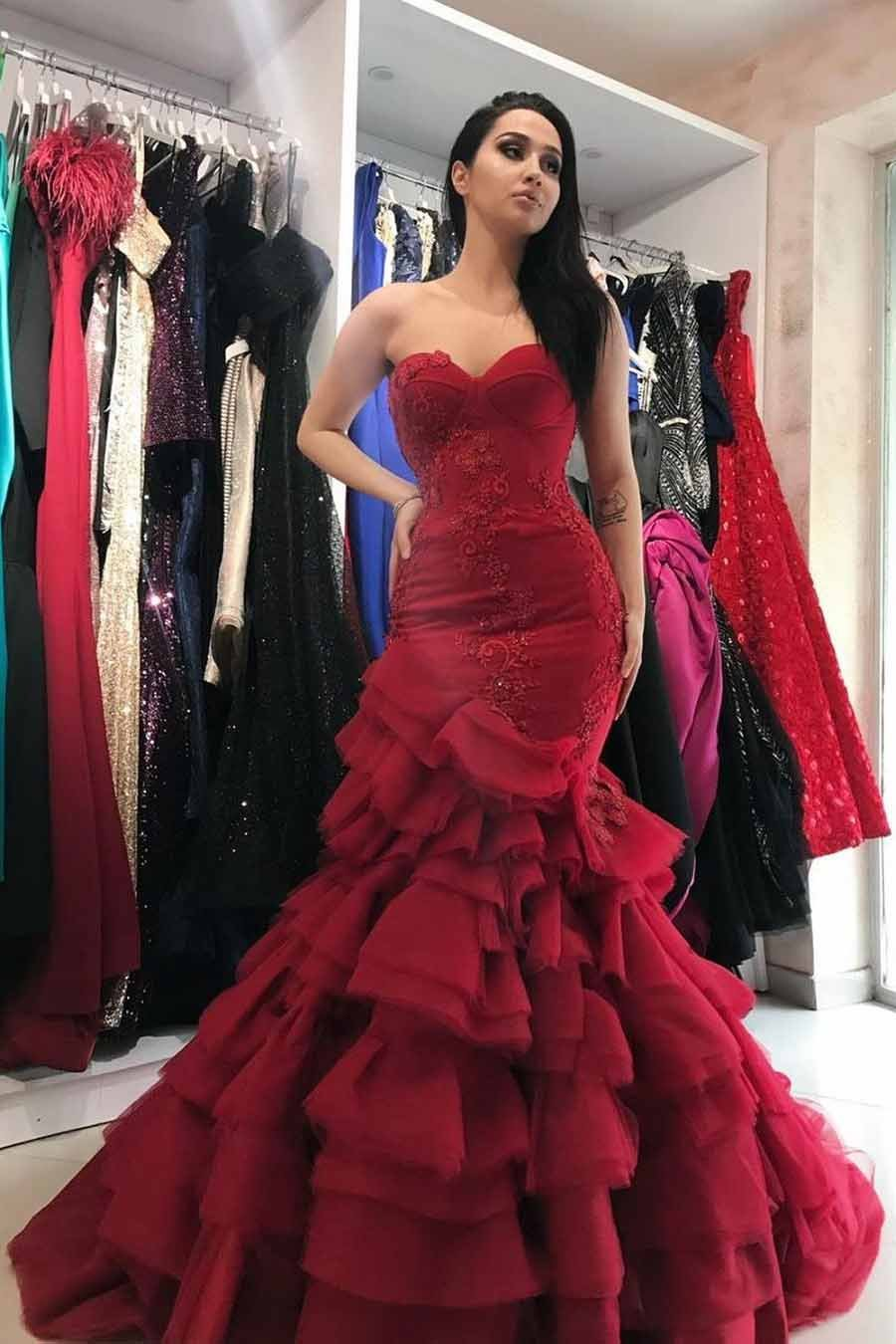 Burgundy Prom Dress Sweetheart Mermaid Layered Formal Gown MP327