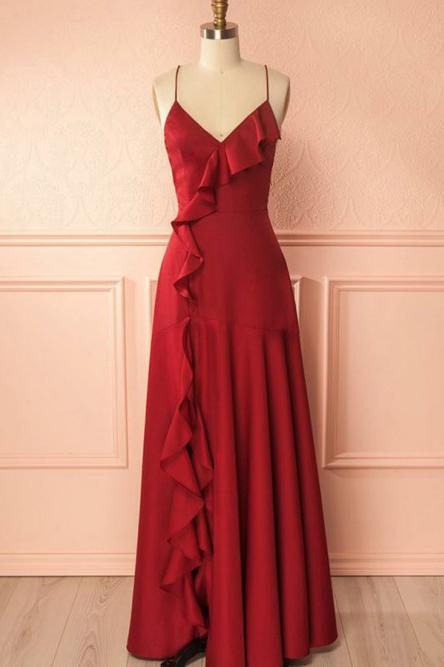 Spaghetti Straps Red Long Prom Dress with Ruffles MP696