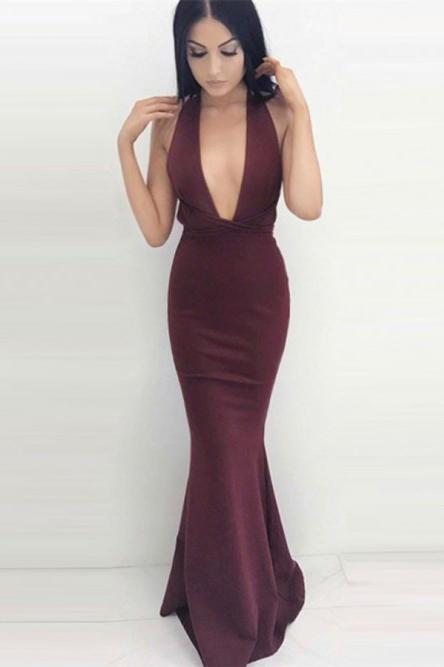 Burgundy Mermaid Plunging Neck Criss-Cross Straps Prom Dress MP695
