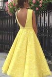 Yellow Plunging Neckline Tea-Length Prom Dresses Lace Homecoming Dress GM203