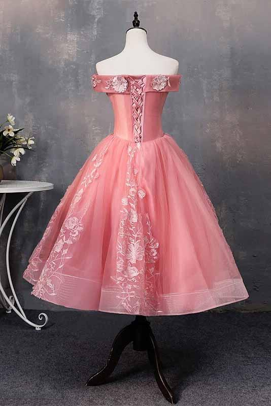 Off-Shoulder Appliques Short Prom Dresses, Princess Sweet 16 Dress GM196