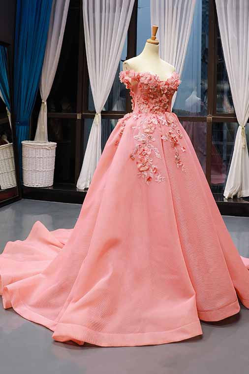 Off-the-Shoulder Prom Dress 3D Floral Appliques Quinceanera Gown MP273