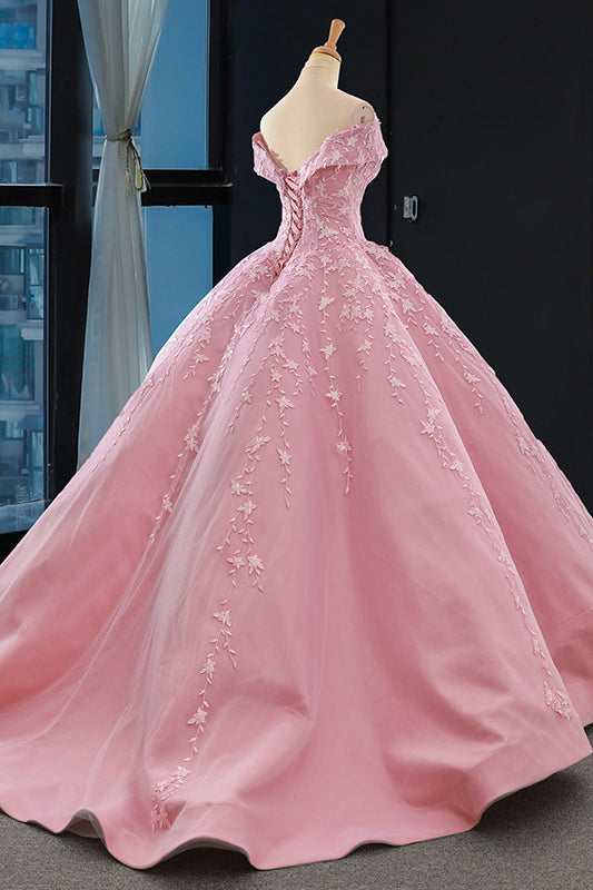 Princess Pink Ball Gown Off-the-Shoulder Appliques Prom Dress MP270