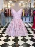 Charming Pink Short Prom Dresses, A-line V-neck Homecoming Dress GM211