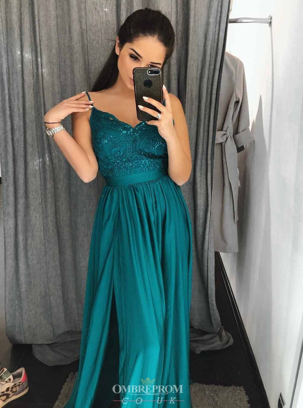 Sexy Emerald Green A-line Spaghetti Long Prom Evening Dresses MP307