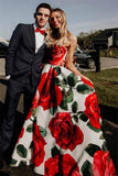 Elegant Strapless Formal Gown Rose Floral Print Long Prom Dresses MP310