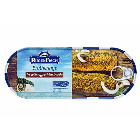 Rugen Fisch Bratheringe in Wurziger Marinade Fried Herring In a Spicy Marinade Product of Germany 500 g