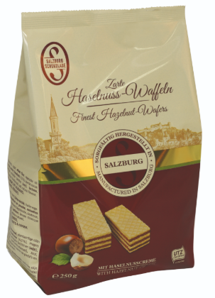 Sazburg Finest Hazelnut Wafers Product of Austria 250 g