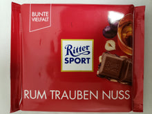 Load image into Gallery viewer, Ritter Sport Rum Trauben Nuss (Milk Chocolate with Rum Raisins & Nuts) Product of Germany 3.5 oz