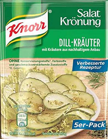 Knorr Salat Kronung Dill-Krauter (Dill-Herbs Dressing) Product of Germany 5 Per-Pack