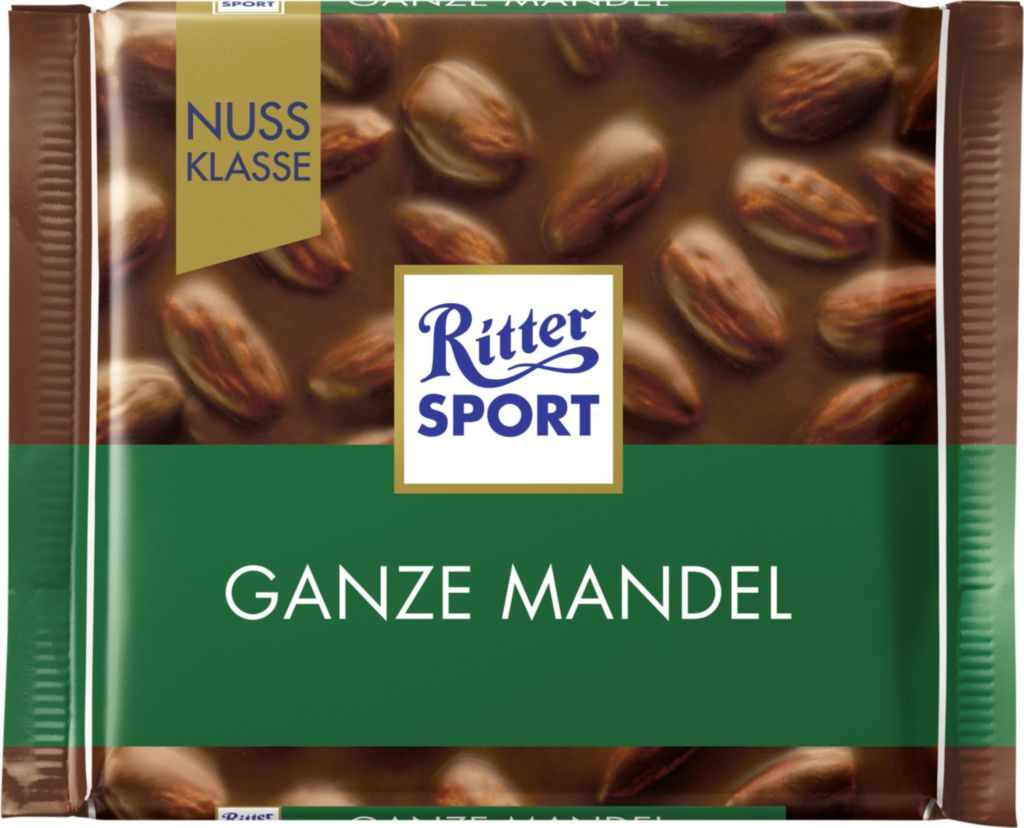 Ritter Sport Ganze Mandel Almond Chocolate Bar Product of Germany 100 g