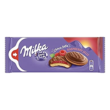 Milka Milk Chocolate Topped Biscuit with Raspberry Jelly Product of Poland 5.19 oz