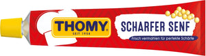 Thomy Scharfer Senf (Hot Mustard) Tube Product of Germany 3.5 oz
