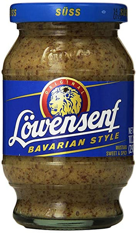 Loewensenf Sweet Mustard (Bavarian Style) Product of Germany 8.7 oz
