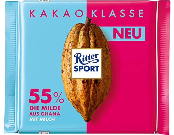 Ritter Sporty Kakao Klasse Dark Chocolate with 55% Cocoa Product of Germany 100 g