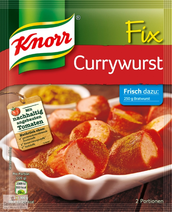 Knorr Fix Currywurst (Curry Sauce for Sausage) Product of Germany 36 g
