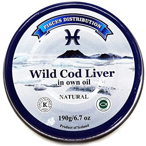 Pisces Distribution Wild Cod Liver in Own Oil Product of Iceland 6.7 oz