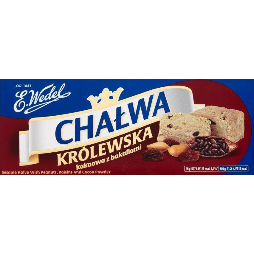 E. Wedel Chatwa Krolewska Sesame Halva with Peanuts, Raisins and Cooca Powder Product of Poland 8.82 oz