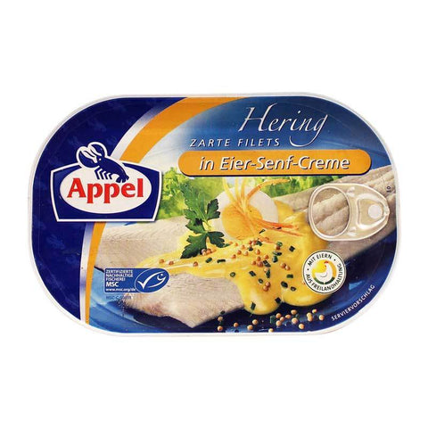 Appel Delicious Herring Fillets in Egg Mustard Cream Sauce Product of Germany 7.05 oz