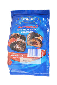 Krakus Gingerbread with Fruit Filling in Chocolate Strawberry Flavored Product of Poland 5.64 oz