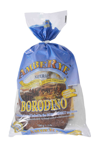 Ambe Rye Natural Borodino Savory Coriander Accents Dark Rye Bread Crafted with European Flair Product of Lithuania 1.55 lb