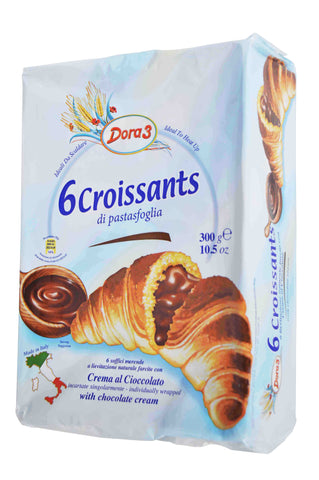 Dora 3 Croissants with Chocolate Cream Product of Italy 6 Pieces