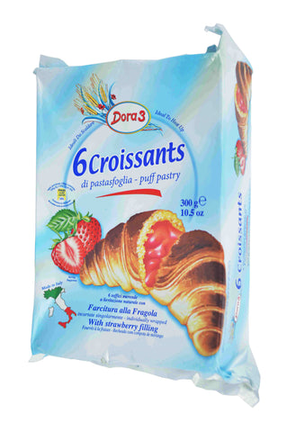 Dora 3 Croissants with Strawberry Filling Product of Italy 6 Pieces