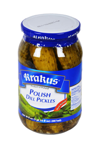 Krakus Hand Packed Polish Dill Pickles Product of Poland 30 oz